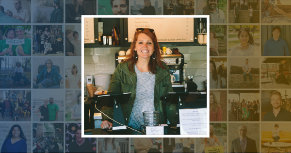 Maggie Kane behind the counter at A Place at the Table